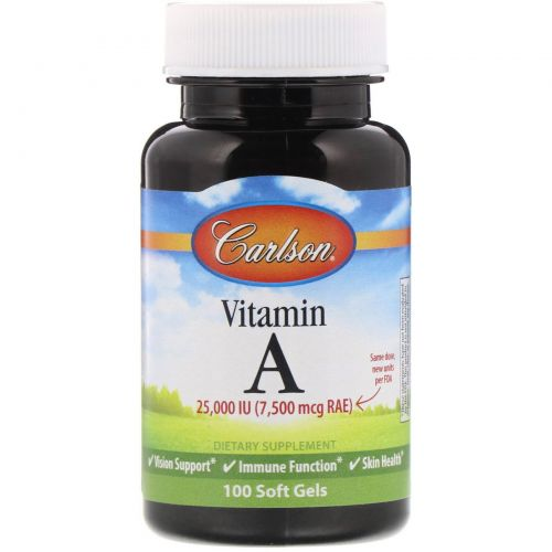 Carlson Labs, Витамин A, 25 000 МЕ, 100 желатиновых капсул