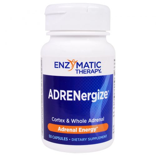 Enzymatic Therapy, ADRENergize, энергия, 50 капсул