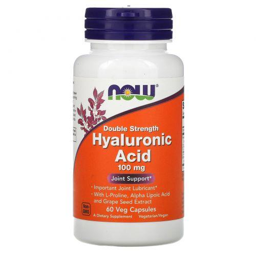 Now Foods, Гиалуроновая кислота, двойная сила, 100 мг, 60 капсул в растительной оболочке