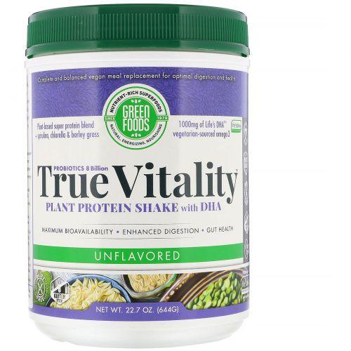 Green Foods Corporation, Подлинная жизненная сила, коктейль из растительного белка с ДГК, без запаха, 22,7 унций (644 г)