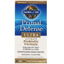 Garden of Life, Первичная защита, ультра, наилучшая пробиотическая формула, 90 хорошо усваивающихся капсул на растительной основе