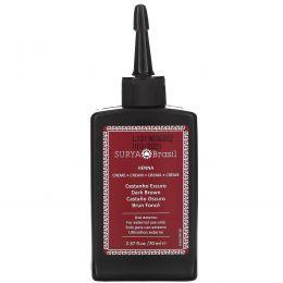 Surya Henna, Эффективная здоровая краска Henna Cream для седоватых волос, темно-каштановый, 70 мл (2,37 жидких унции)