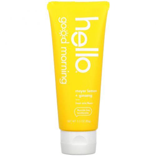 Hello, Good Morning, Fluoride Free Toothpaste,  Meyer Lemon + Ginseng, 3 oz (85 g)