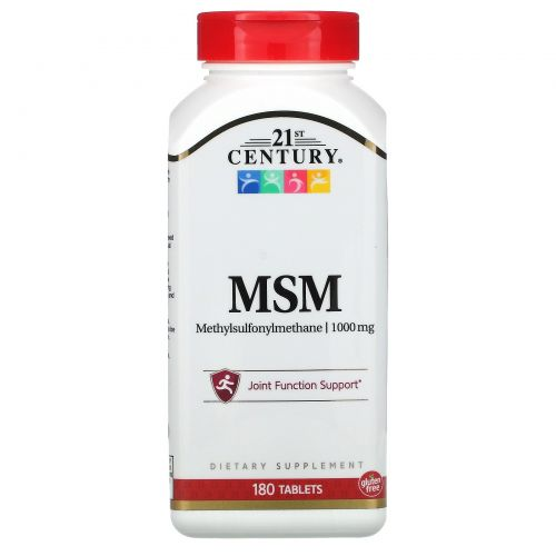 21st Century, МСМ-1000, Максимальная сила, 1000 мг, 180 таблеток
