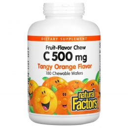 Natural Factors, Витамин C 500 мг, со вкусом кислого апельсина, 180 жевательных вафель