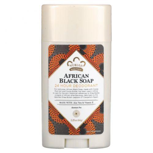 Nubian Heritage, Натуральный дезодорант с защитой 24 часа, Африканское черное мыло с алоэ и витамином E, 2,25 унции (64 г)
