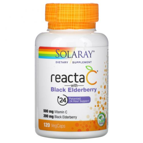 Solaray, Reacta-C + Elderberry, 120 Vegetarian Capsules