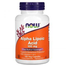 Now Foods, Альфа-липоевая кислота, 100 мг, 120 капсул на растительной основе