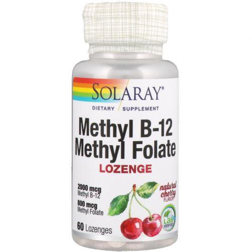 Solaray, Methyl B-12 Methyl Folate, Cherry Flavor, 60 Lozenges