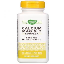 Nature's Way, Комплекс магния, кальция и витамина D, 250 капсул
