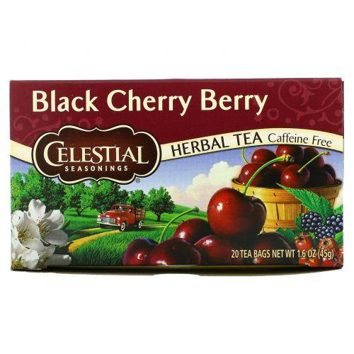 Celestial Seasonings, Травяной чай, Черная вишня, без кофеина 20 чайных пакетиков, 1.6 унции (44 г)