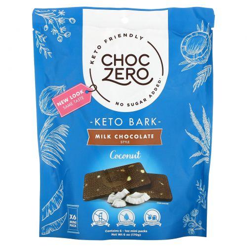 ChocZero, Milk Chocolate, Coconut, 6 Mini Packs, 1 oz Each