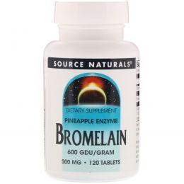 Source Naturals, Бромелаин, 600 ГДУ / г, 500 мг, 120 таблеток