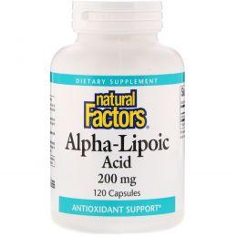 Natural Factors, Альфа-липоевая кислота, 200 мг, 120 капсул