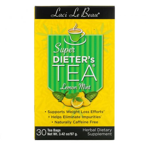 Natrol, Laci Le Beau, Super Dieter's Tea, Лимон и мята, 30 чайных пакетиков, 75 г