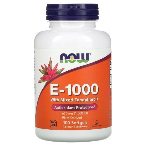 Now Foods, E-1000, 100 мягких таблеток