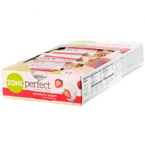 ZonePerfect, Питательные батончики, со вкусом клубничного йогурта, 12 батончиков по 1.76 унций (50 г)