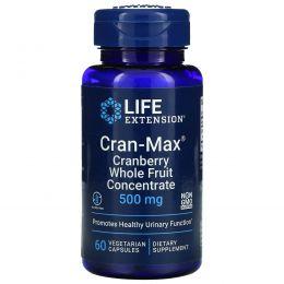 Life Extension, Cran-Max, клюквенный цельнофруктовый концентрат, 500 мг, 60 растительных капсул