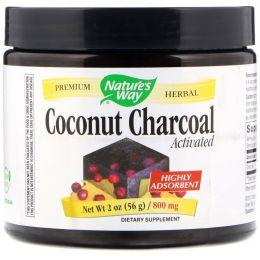 Nature's Way, Уголь с кокосом, Активированный, 800 мг, 2 унц. (56 г)