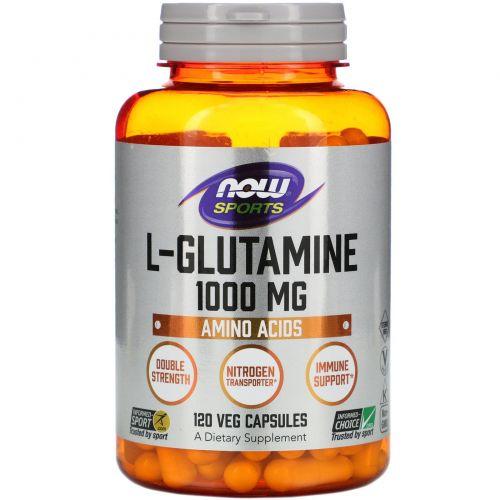 Now Foods, L-глутамин, двойная сила, 1000 мг, 120 капсул