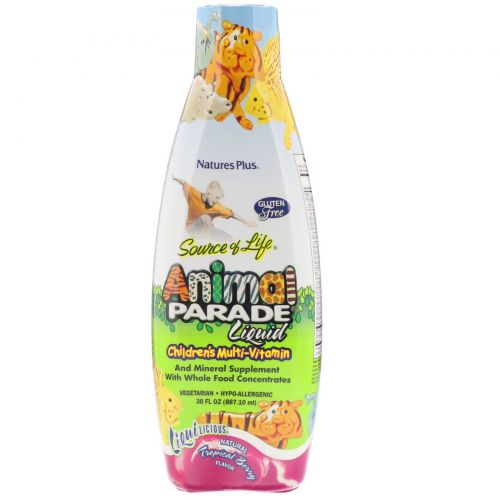 Nature's Plus, Источник жизни, жидкие мультивитамины для детей от Animal Parade, натуральный вкус тропических ягод, 30 жидких унций (887.10 мл)