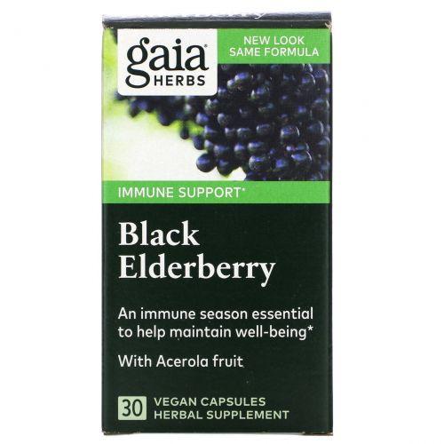 Gaia Herbs, Black Elderberry, 30 Liquid-Filled Capsules