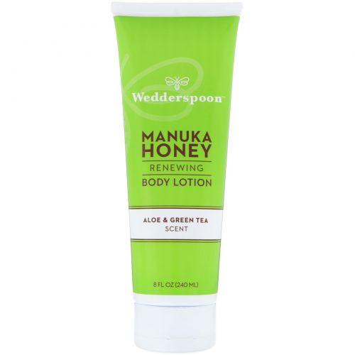 Wedderspoon, Manuka Honey, Renewing Body Lotion, Aloe & Green Tea Scent, 8 fl oz (240 ml)