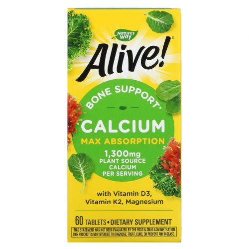 Nature's Way, Alive!, Calcium, Bone Formula, 1,000 mg, 60 Tablets