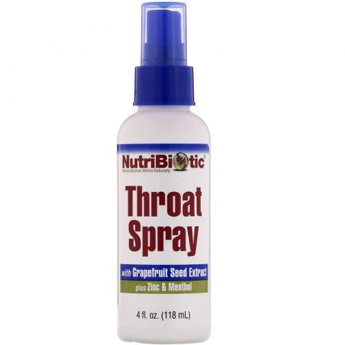 NutriBiotic, Спрей для горла, 4 жидких унции (118 мл)
