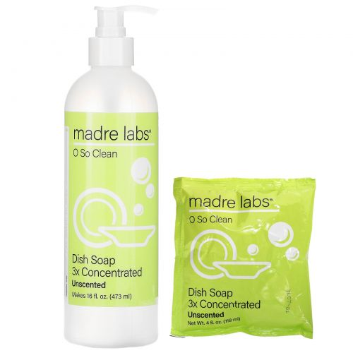 Madre Labs, средство для мытья посуды, тройной концентрации, без запаха, 1пакетик, 118мл (4унции)