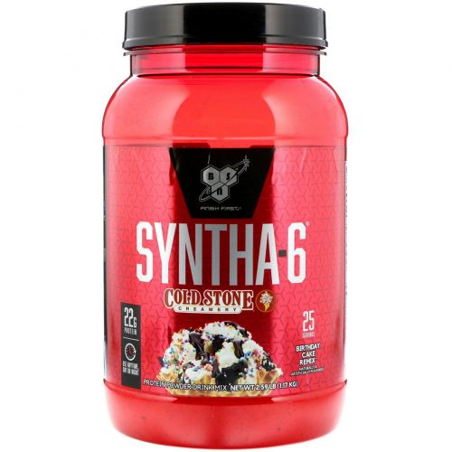 BSN, Syntha-6 Cold Stone Creamery, Birthday Cake Remix 2.59 lb (1.17 kg)