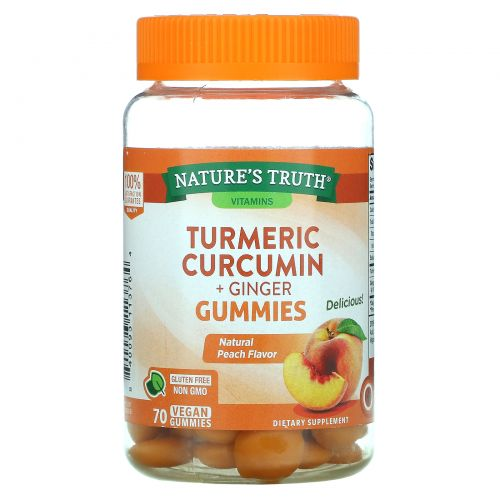 Nature's Truth, Turmeric Curcumin + Ginger, Natural Peach, 70 Vegan Gummies