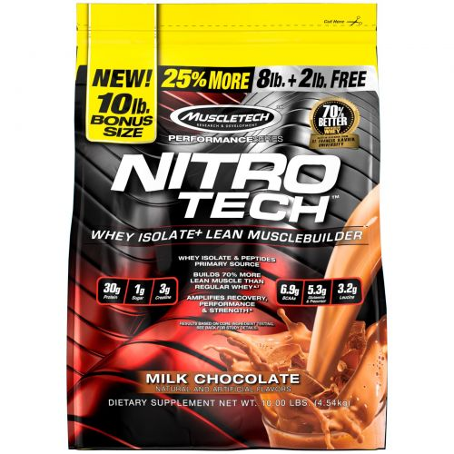 """Muscletech, Серия """"Достижение"""", Nitro-Tech, Сывороточный изолят для формирования сухой мышечной массы, Молочный шоколад, 10 фунтов (4,54 кг)"""