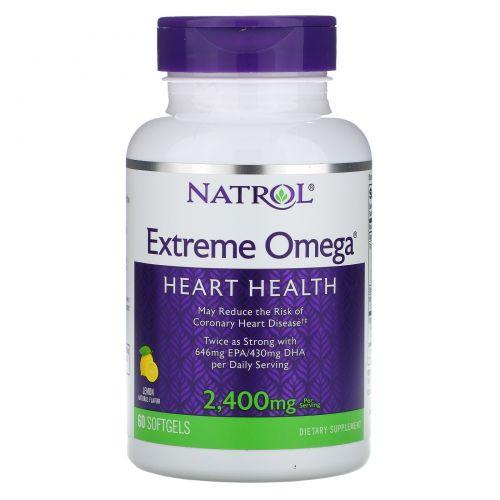 Natrol, Extreme Omega, Лимон, 2 400 мг, 60 мягких таблеток