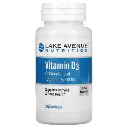 Lake Avenue Nutrition, Витамин D3, 5 000МЕ, 360 мягких желатиновых капсул