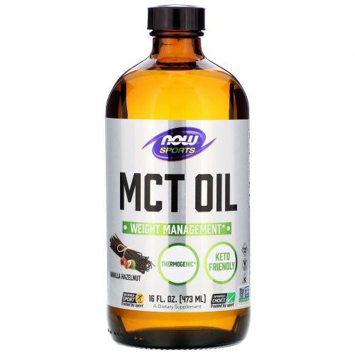 Now Foods, MCT Oil, ваниль и фундук, 16 жид.унций (473 мл)