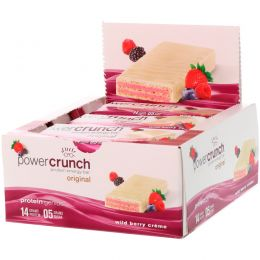 BNRG, Power Crunch, протеиновый энергетический батончик с  сливочной начинкой и вкусом диких ягод, 12 шт. по 40 г