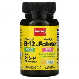 Jarrow Formulas, Метил B-12 и метилфолат со вкусом лимона, 1000 мкг / 400 мкг, 100 леденцов