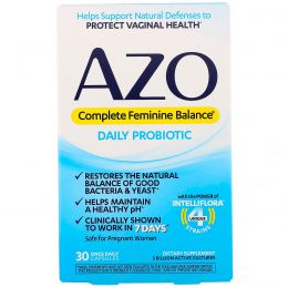 Azo, Complete Feminine Balance, Daily Probiotic, 30 Once Daily Capsules