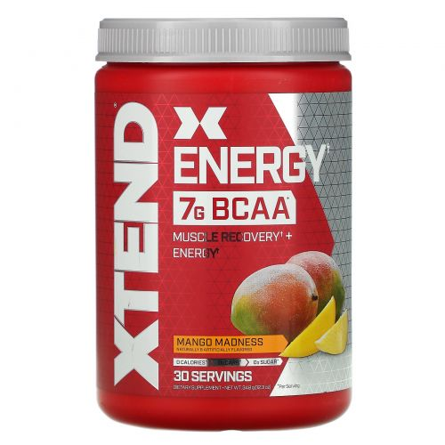 Scivation, Xtend Energy, медленное высвобождение, кофеин + аминокислоты с разветвлённой цепью, нектар манго, 12,3 унц. (348 г)