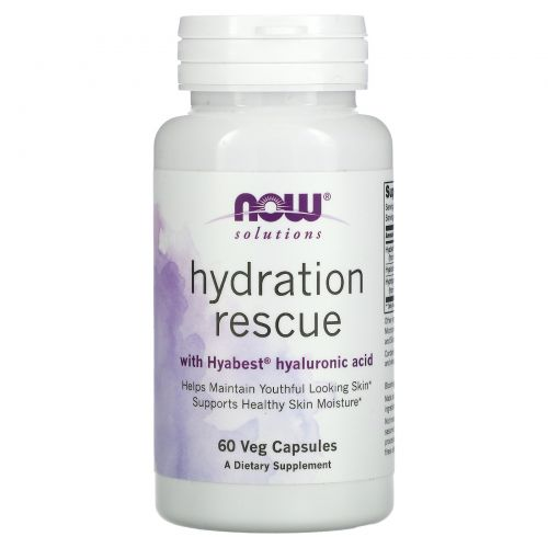 Now Foods, Solutions, Hydration Rescue with Hyabest Hyaluronic Acid, 60 Veg Capsules