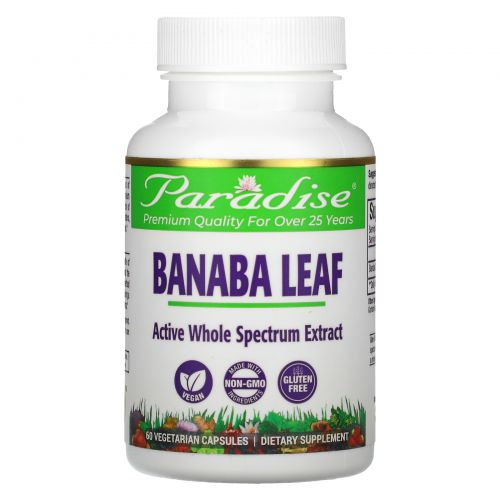 Paradise Herbs, Лист банабы, 60 растительных капсул