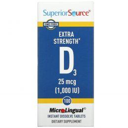 Superior Source, Витамин D3, Экстра сила, 1000 МЕ, 100 микролингвальных таблеток