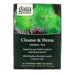 Gaia Herbs, Очищение и детоксикация, без кофеина, 16 пакетиков, 1,13 унции (32 г)
