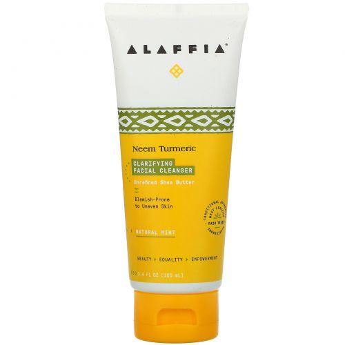 Alaffia, Facial Cleanser, Clarifying Neem, 3.4 fl oz (100 ml)