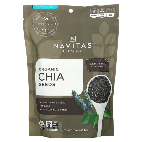 Navitas Organics, Органические семена чиа, 16 унции (454 г)