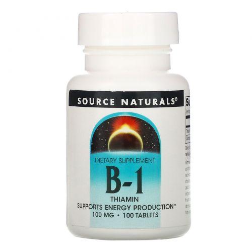 Source Naturals, Витамин B-1, тиамин, 100мг, 100таблеток
