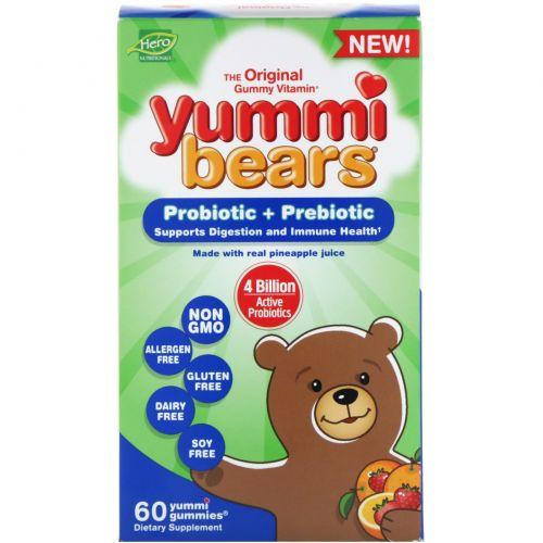 Hero Nutritional Products, Yummi Bears, пробиотик + пребиотик, натуральные вкусы клубники и апельсина, 60 вкусных жевательных таблеток