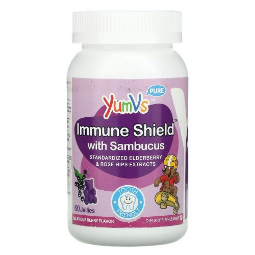 Yum-V's, Immune Shield с бузиной, со вкусом ягод, 60 желе