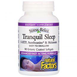 Natural Factors, Natural Factors, Stress-Relax, спокойный сон, 90 желудочно-резистентных желатиновых капсул